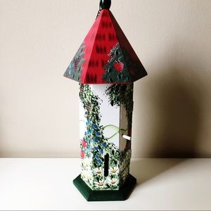 Wooden Hand Painted Hanging Bird House Signed 1998